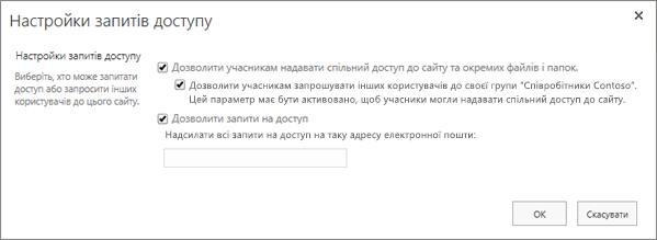 Панель для налаштування запитів на доступ