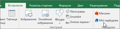 """На стрічці на вкладці """"Вставлення"""" розташовано групу """"Надбудови"""", яка дає змогу впорядковувати надбудови Excel"""