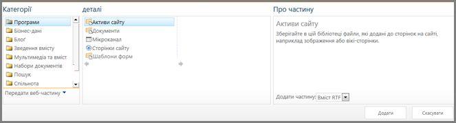 Категорії веб-частин