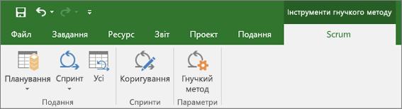 """Знімок екрана: вкладка """"Інструменти гнучкого методу"""" на стрічці Project"""