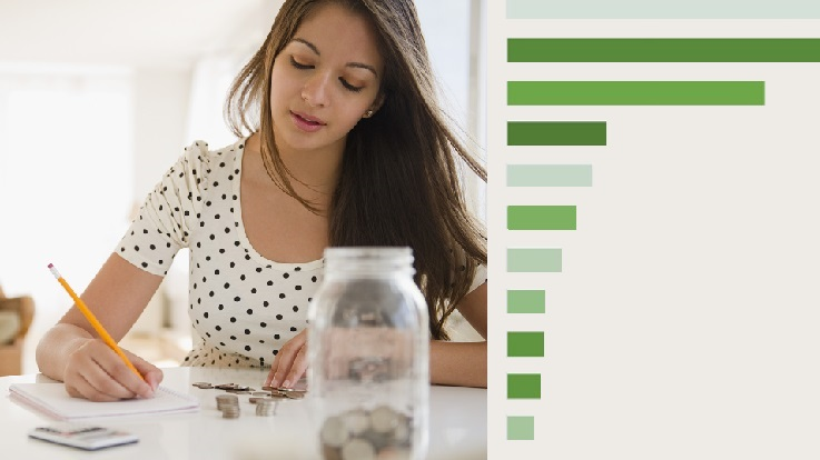 photo of a young woman at a table with a jar of coins