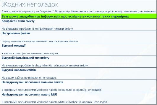 Результати перевірки справності колекції сайтів