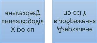 Зразки віддзеркаленого тексту: перший– обернутий на 180градусів навколо осі X, а другий – на 180градусів навколо осі Y