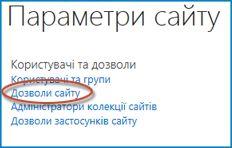 """Знімок екрана з набором параметрів на сторінці """"Настроювання сайту"""", де відображаються посилання """"Люди"""" та """"Групи"""""""