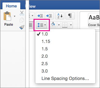 On the Home tab, Line Spacing is hightlighted