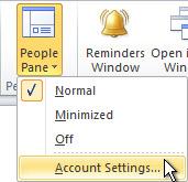 команда «параметри облікового запису» області користувачів на стрічці