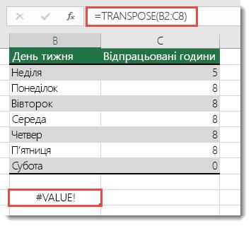 Помилка #VALUE у формулі з функцією TRANSPOSE