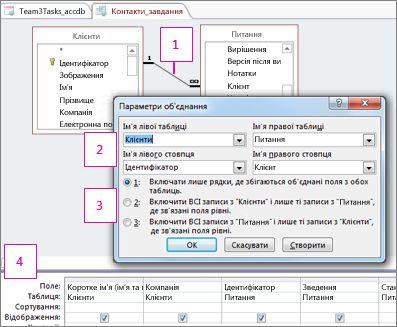 Вікно параметрів об'єднання.
