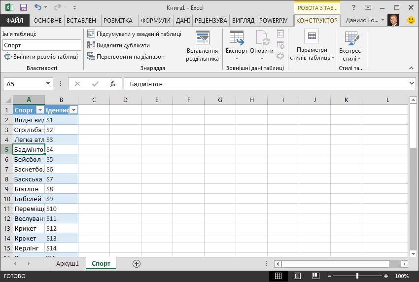 Установлення назви таблиці в програмі Excel