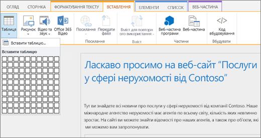 """Знімок екрана зі стрічкою SharePointOnline. Перейдіть на вкладку """"Вставлення"""" та виберіть команду """"Вставити таблицю"""", щоб ввести кількість рядків і стовпців для нової таблиці."""