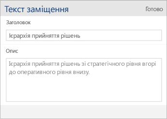 """Знімок екрана: діалогове вікно """"Текст заміщення"""" в програмі Word Mobile із полями """"Заголовок"""" і """"Опис"""""""