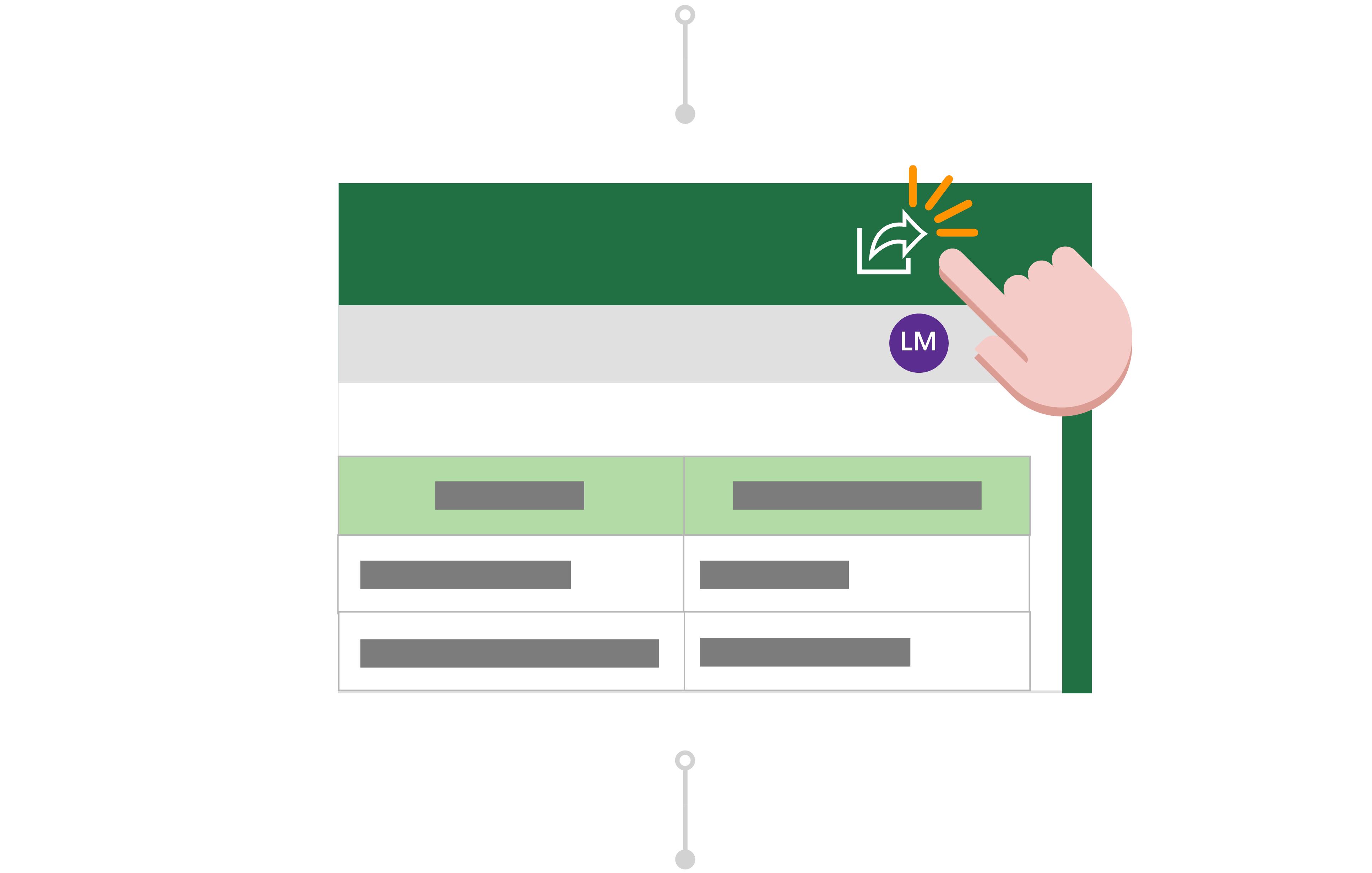 Linda натисне кнопку Спільний доступ, щоб запросити інших користувачів до співпраці.