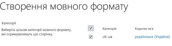 Знімок екрана з прапорцями, котрі вказують на сайти мовного формату, які мають отримати оновлення вмісту. Також показано категорії мовного формату та їхні відповідні короткі імена