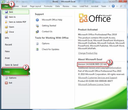В області праворуч, знайдіть у версії Microsoft office.