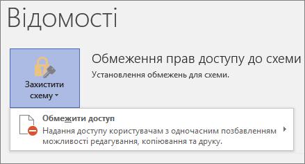 """Кнопка """"Захистити схему"""", команда """"Обмежити доступ"""""""