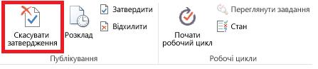 Кнопка «Скасувати затвердження» на стрічці