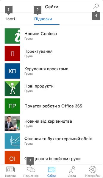 Вкладку сайти програми SharePoint для мобільних пристроїв на платформі iOS
