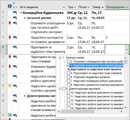 """Знімок екрана: розкривне меню стовпця """"Попередники"""" в програмі Project"""