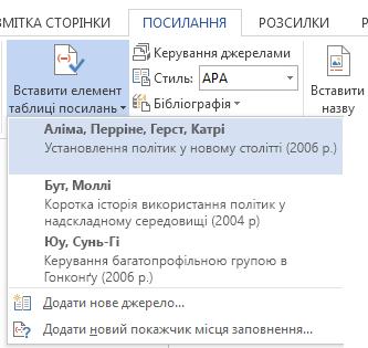 Список посилань у документі.