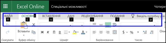 """Стрічка ExcelOnline із відкритою вкладкою """"Основне"""" та підказками клавіш для всіх вкладок"""