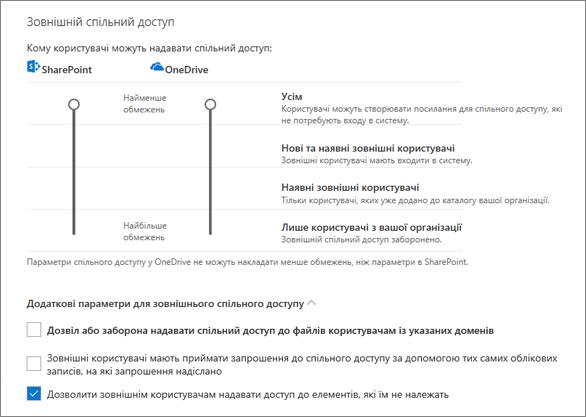 """Параметри зовнішнього спільного доступу на сторінці """"Спільний доступ"""" у Центрі адміністрування OneDrive"""