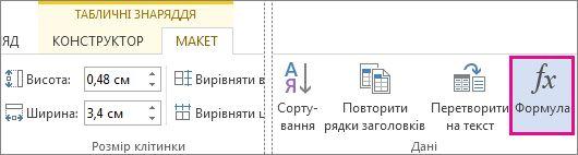 Кнопка ''Формула'' на вкладці ''Робота з таблицями''