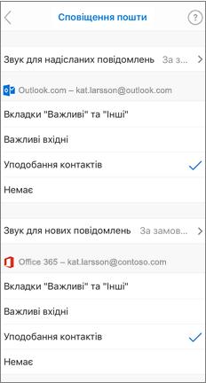 Сторінка сповіщень електронної пошти з перевіреного списку користувачів