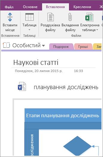 Знімок екрана: додавання нової схеми Visio в програмі OneNote2016.