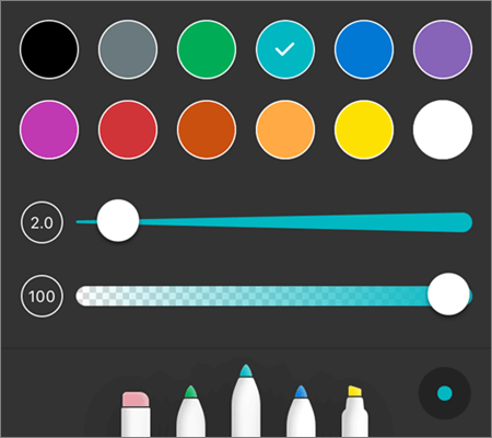 OneDrive для iOS PDF розмітки перо стилі