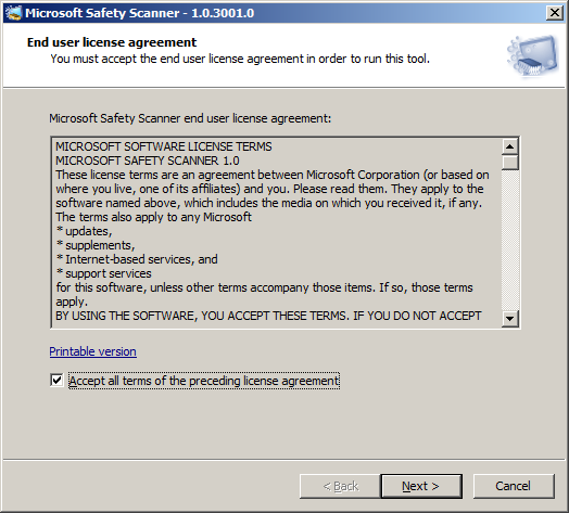 Click the Accept all terms of the preceding license agreement check box, and then click Next two times.