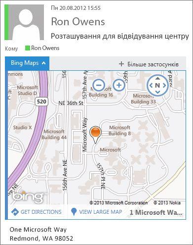 Повідомлення електронної пошти, у якому за допомогою застосунку «Карти Bing» відображається адреса на карті