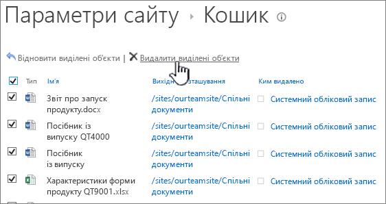 """SharePoint 2013 2-го рівня кошик з всі елементи, що вибрано і кнопка """"видалити"""" виділено"""