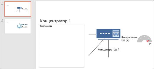 Знімок екрана: слайд PowerPoint із заголовком і графічним об'єктом слайда.
