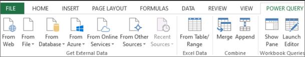 Стрічка надбудови Power Query в програмі Excel 2013