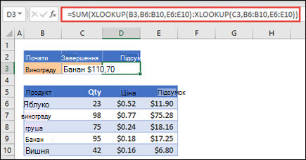 Використання XLOOKUP з СУМОЮ, щоб підсумувати діапазон значень, які припадають між двома виділеннями
