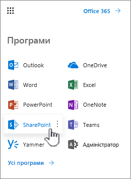 Списку програм Office 365 з кнопка запускача програм