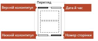 """На зображенні в області """"Перегляд"""" позначено елементи, які надрукуються на сторінках нотаток."""