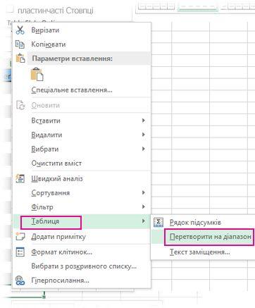 параметр «таблиця» в контекстному меню
