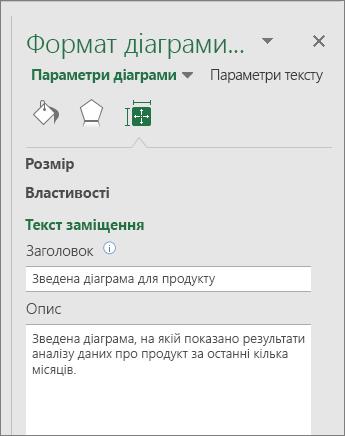 """Знімок екрана із зображенням області """"Текст заміщення"""" на панелі """"Формат області діаграми"""" з описом вибраної зведеної діаграми"""