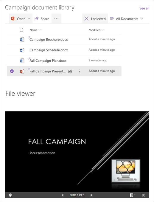 """Приклад веб-частини """"засіб перегляду файлів"""", підключеного до бібліотеки документів"""