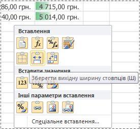 параметри в меню ''попередній перегляд вставлення''