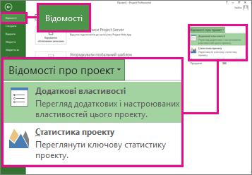 Меню ''Відомості про проект'' із вибраним пунктом ''Додаткові властивості''