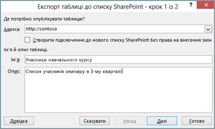 Діалогове вікно майстра експорту до списку SharePoint
