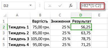 Результати у відсотках у стовпці D