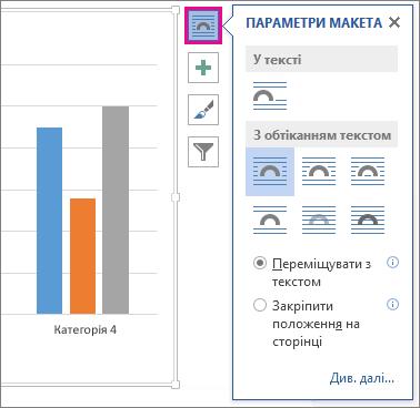 Зображення параметрів макета для діаграм у програмі Word
