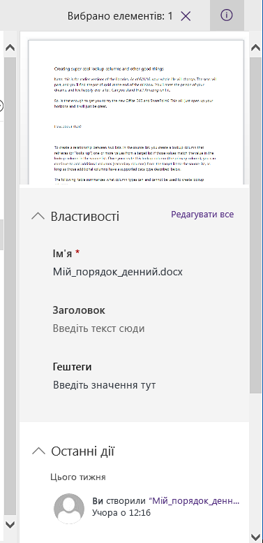 Область відомостей для одного вибраного файлу