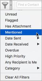 """Використання параметра """"Згадані"""" в меню фільтрування пошти для пошуку повідомлень електронної пошти, у яких вас @згадано"""