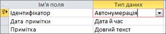 """Первинний ключ """"Лічильник"""", позначений як """"Ідентифікатор"""" у таблиці Access у режимі конструктора"""
