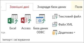"""Вкладка """"Зовнішні дані"""" в програмі Access"""