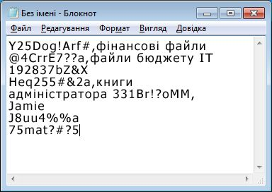 Список паролів у файлі програми «Блокнот»